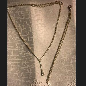 Jewelry - Silver girls necklace & bracelet w cubic zirconia